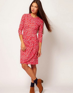 Image 1 ofPeople Tree Organic Cotton Floral Wrap Dress