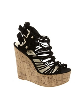 Image 1 of New Look Glarish Multi Strap Platform Wedges