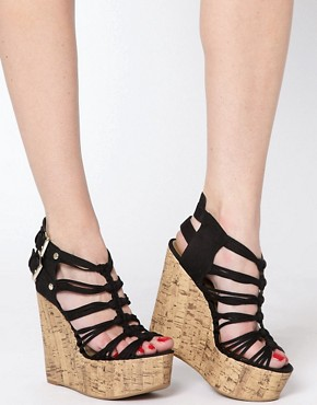Image 3 of New Look Glarish Multi Strap Platform Wedges