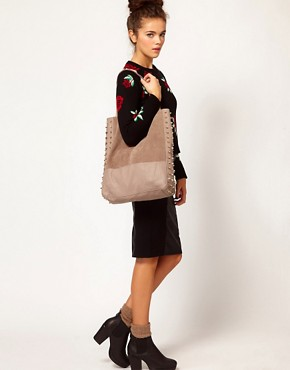 Image 3 ofRiver Island Leather Studded Shopper