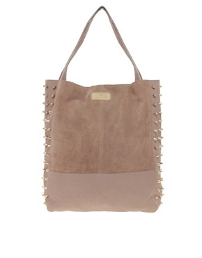 Image 1 ofRiver Island Leather Studded Shopper