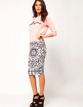 Image 1 ofASOS Pencil Skirt In Baroque Print