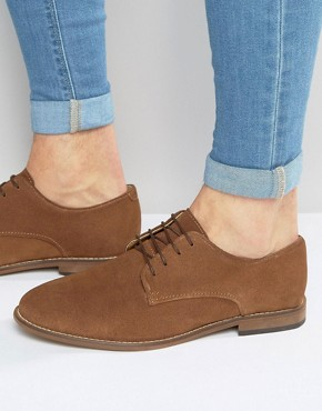 ASOS Derby Shoes in Tan Suede With Natural Sole