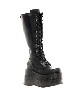 Image 1 ofNew Rock MPX Extreme Platform Lace Up Knee Boots
