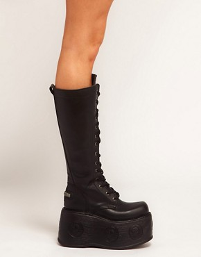 Image 4 ofNew Rock MPX Extreme Platform Lace Up Knee Boots