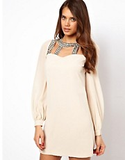 Little Mistress Embellished Cut Out Shift Dress