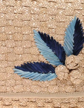 Image 2 of ASOS Applique Straw Clutch Bag
