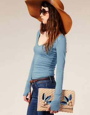 Image 3 of ASOS Applique Straw Clutch Bag