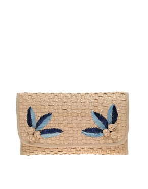 Image 1 of ASOS Applique Straw Clutch Bag