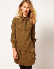 YMC Needlecord Dress with Tie Detail