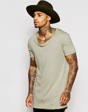 ASOS Super Longline T-Shirt With Stretch Neck And Dropped Hem