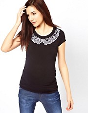 New Look Maternity Lace Collar T-Shirt
