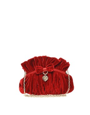 Image 1 ofSuzy Smith Velvet Clip Charm Clutch Bag