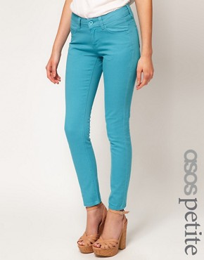 Image 1 ofASOS PETITE Exclusive Skinny Jeans In Aqua #4