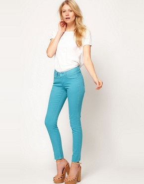 Image 4 ofASOS PETITE Exclusive Skinny Jeans In Aqua #4