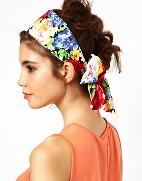 Image 1 ofASOS Floral Scarf Hair Band
