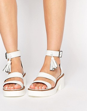 Windsor Smith Chunk White Leather Tassel Heeled Sandals
