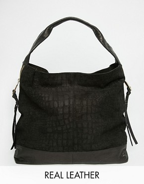 River Island Croc Embossed Zip Side Slouch