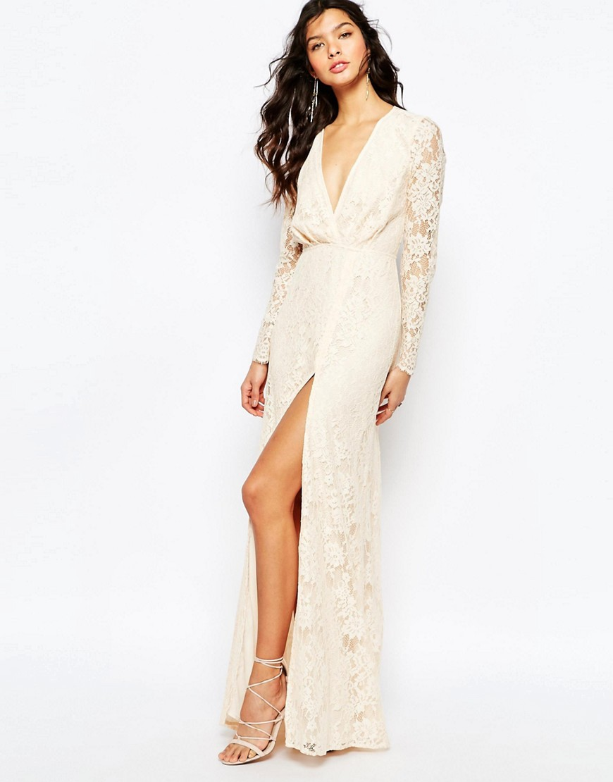 The Jetset Diaries Pizzo Lace Wrap Maxi Dress in Blush - Beige