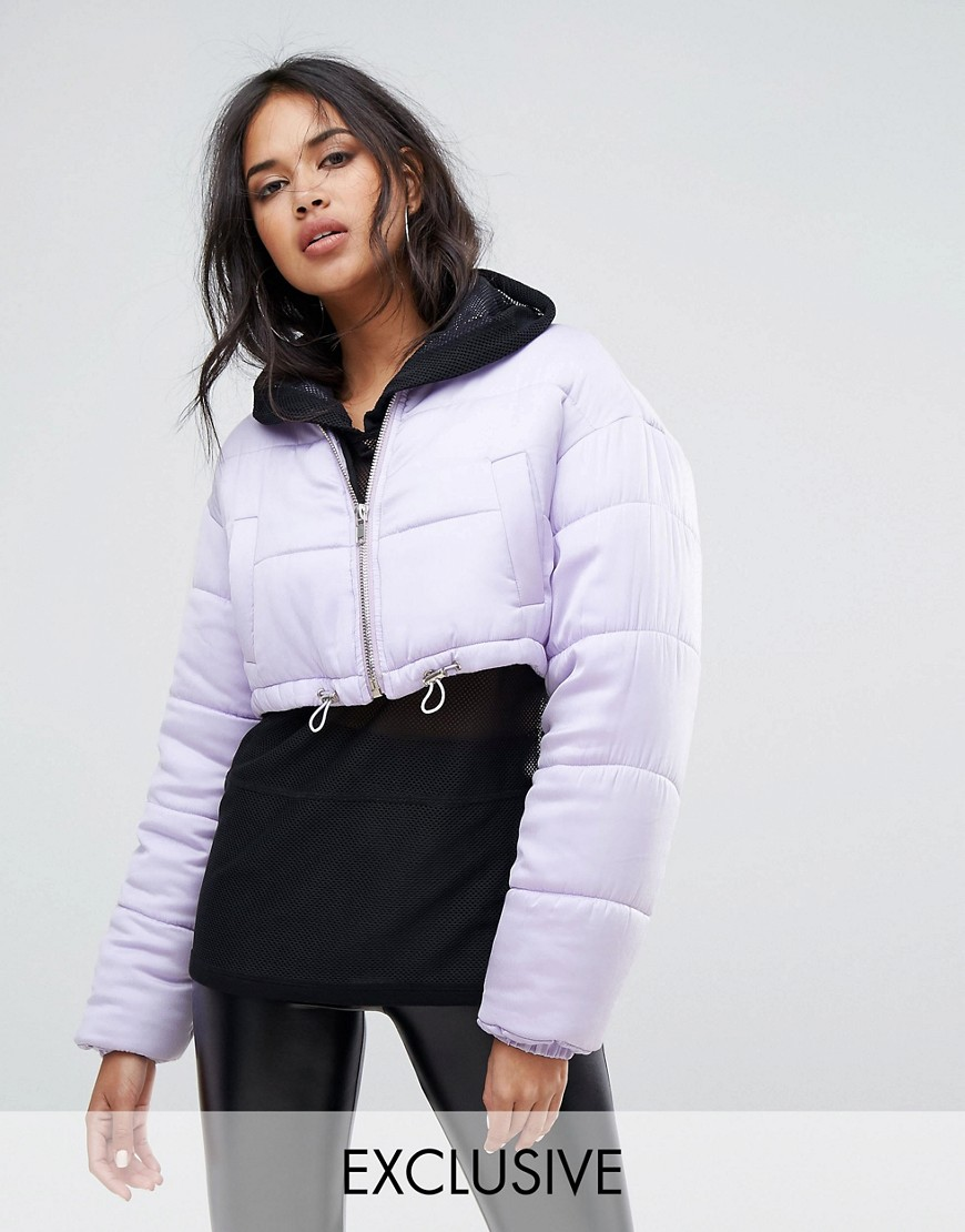 Missguided Padded Cropped Jacket - Purple
