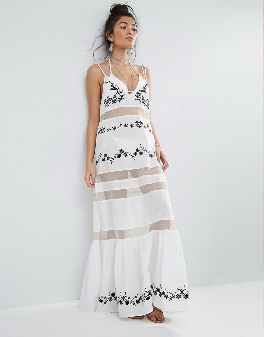 ASOS Beach Mesh Embroidered Panel Maxi Dress with Peplum Hem - Mono
