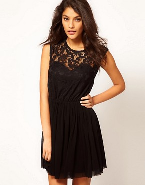 Image 1 ofASOS Skater Dress With Lace And Mesh