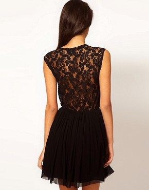 Image 2 ofASOS Skater Dress With Lace And Mesh