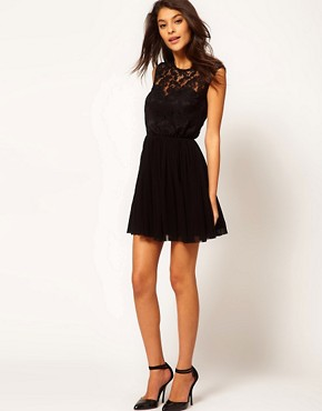 Image 4 ofASOS Skater Dress With Lace And Mesh
