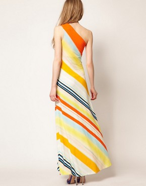 Image 2 ofTed Baker One Shoulder Maxi Dress In Stripe Print