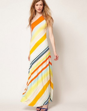Image 4 ofTed Baker One Shoulder Maxi Dress In Stripe Print