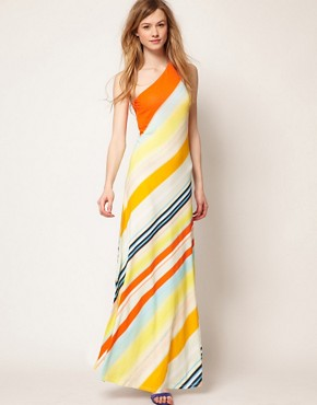 Image 1 ofTed Baker One Shoulder Maxi Dress In Stripe Print