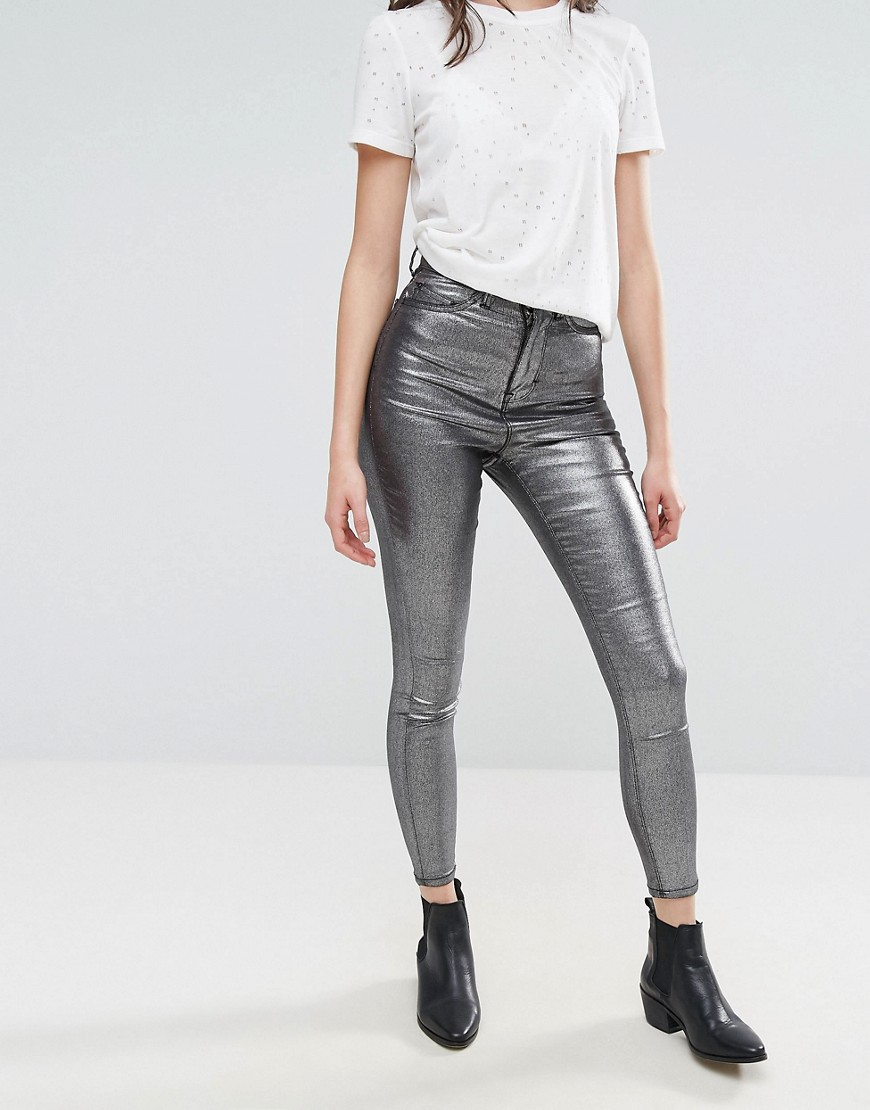 Waven Anika Metallic High Rise Skinny Jeans - Metallic silver