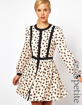 Image 1 ofASOS PETITE Exclusive Skater Dress With Bow Tie Back