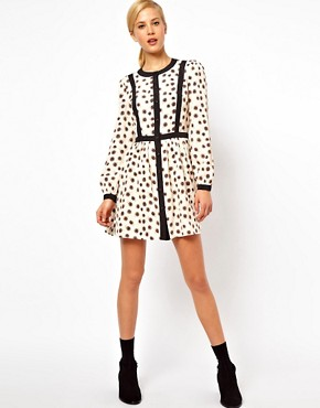 Image 4 ofASOS PETITE Exclusive Skater Dress With Bow Tie Back