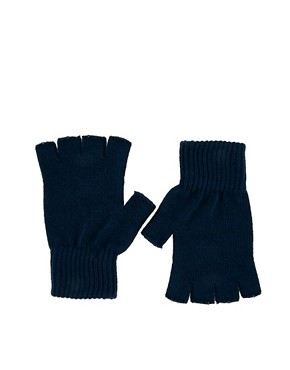 Image 1 ofASOS Navy Fingerless Gloves