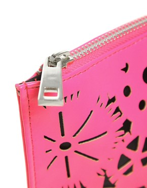 Image 2 of ASOS Lazer Cut Zip Top Clutch