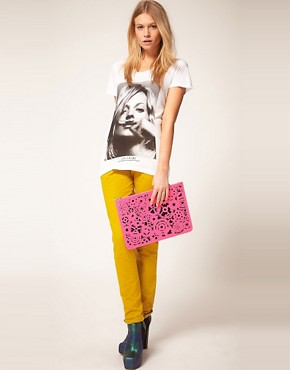 Image 3 of ASOS Lazer Cut Zip Top Clutch