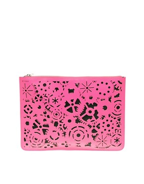 Image 1 of ASOS Lazer Cut Zip Top Clutch