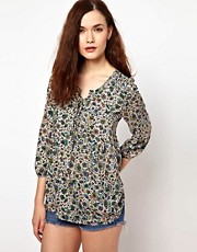 Warehouse Top In Folk Floral Print