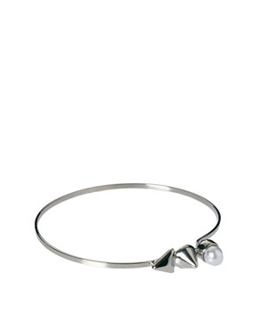 Image 1 ofASOS Spike Pearl Skinny Bangle