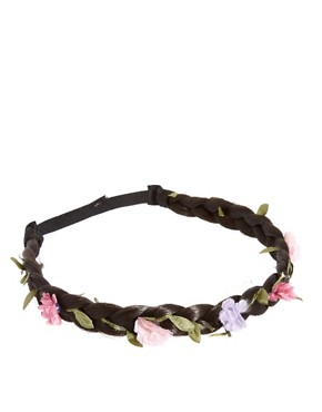 Image 2 ofRiver Island Braided Headband With Pink Flowers