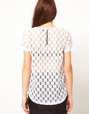 Image 2 ofVero Moda Lace Top With Leather Look Trim