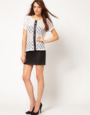 Image 4 ofVero Moda Lace Top With Leather Look Trim