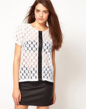 Image 1 ofVero Moda Lace Top With Leather Look Trim