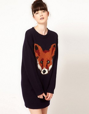 Image 1 of Peter Jensen Fox Intarsia Crew Neck Jumper Dress