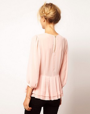 Image 2 ofASOS Sheer Top With Peplum And 3/4 Sleeves