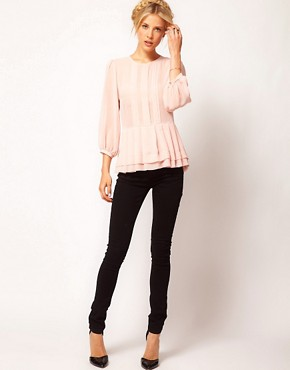 Image 4 ofASOS Sheer Top With Peplum And 3/4 Sleeves
