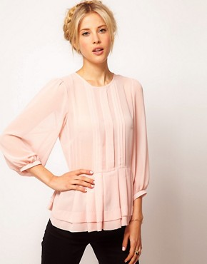 Image 1 ofASOS Sheer Top With Peplum And 3/4 Sleeves