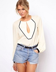 ASOS Blouse With Piped Bib And Keyhole