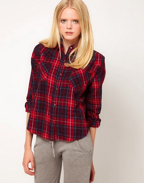 Image 1 ofLnA Cropped Flannel Shirt
